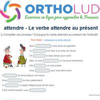 Le Verbe Attendre Au Present De L Indicatif Exercice De Francais Cm1